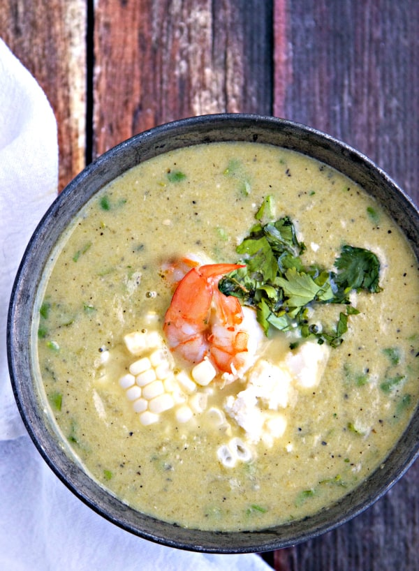 Hatch Chile Soup with Fresh Summer Corn & Cilantro Lime Shrimp - so easy to make and SO MUCH FLAVOR!!