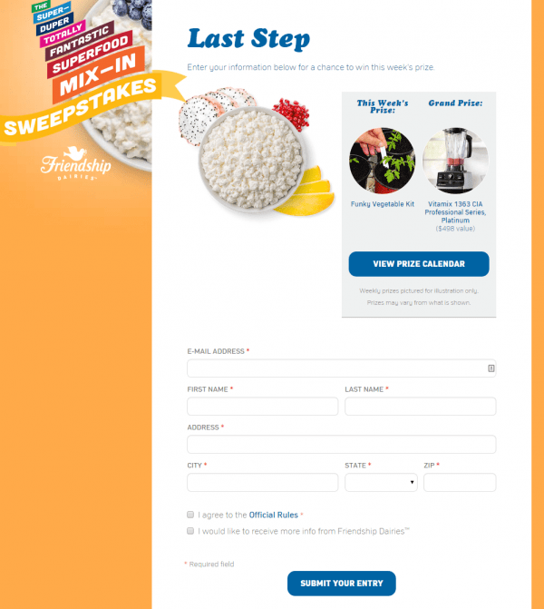 friendship cottage cheese sweepstakes