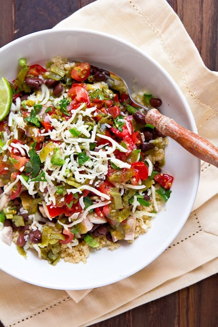 Chicken Burrito Bowls with Hatch Chile Pico de Gallo - plus 49 more fabulous Hatch Chile Recipes!