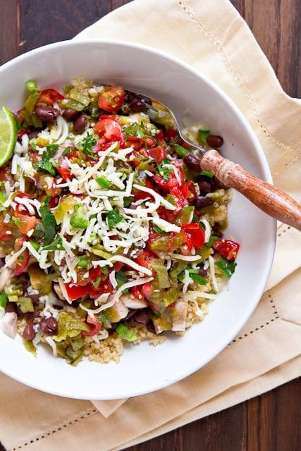 Chicken Burrito Bowls with Hatch Chile Pico de Gallo - plus 49 more fabulous Hatch Chile Recipes!