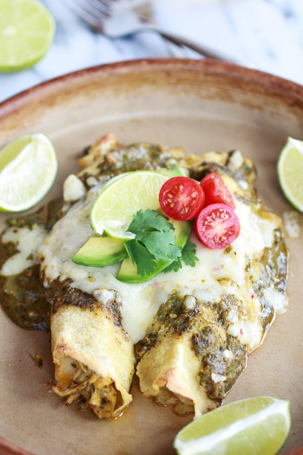 Creamy Avocado Hatch Chile Chicken & Charred Corn Crepechiladas!! Plus 49 more fabulous Hatch Chile Recipes!