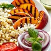 Grilled Peach Salad with Basil Vinaigrette