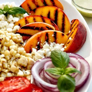 Grilled Peach Salad with Basil Vinaigrette