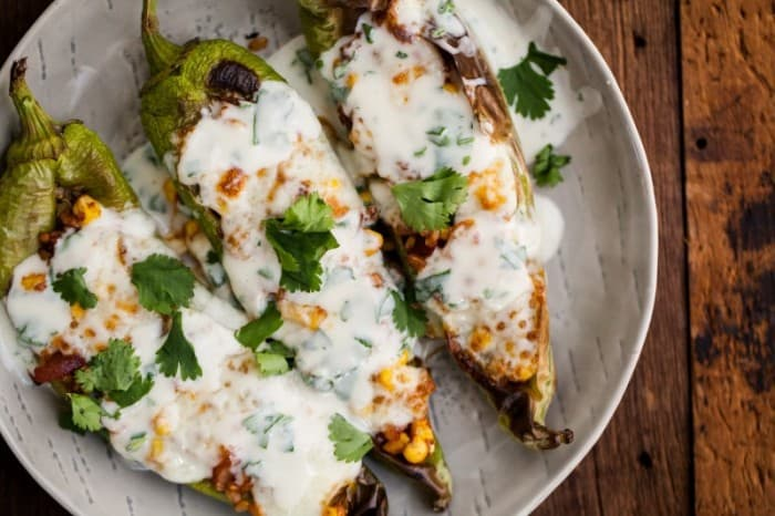 Stuffed Hatch Chiles with Cilantro-Lime Yogurt - plus 49 more fabulous Hatch Chile Recipes!