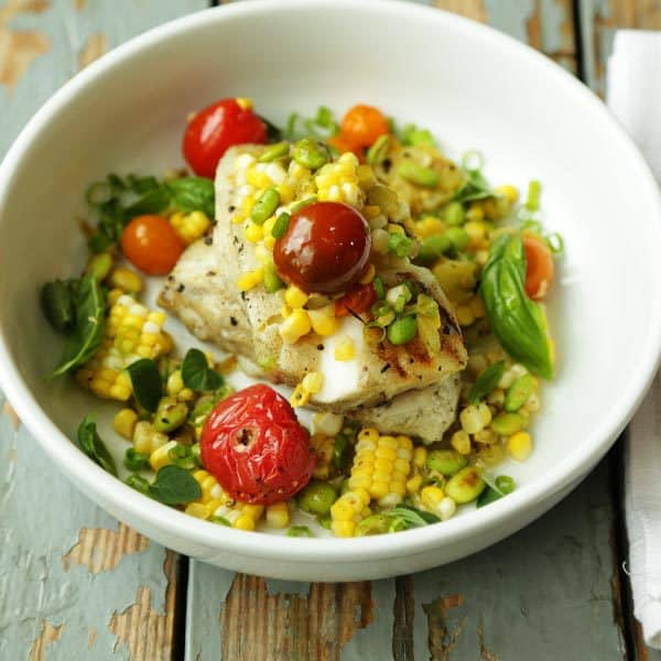 Grilled Sea Bass and Corn Salsa with Hatch Chiles - plus 49 more fabulous recipes using the beloved Hatch!