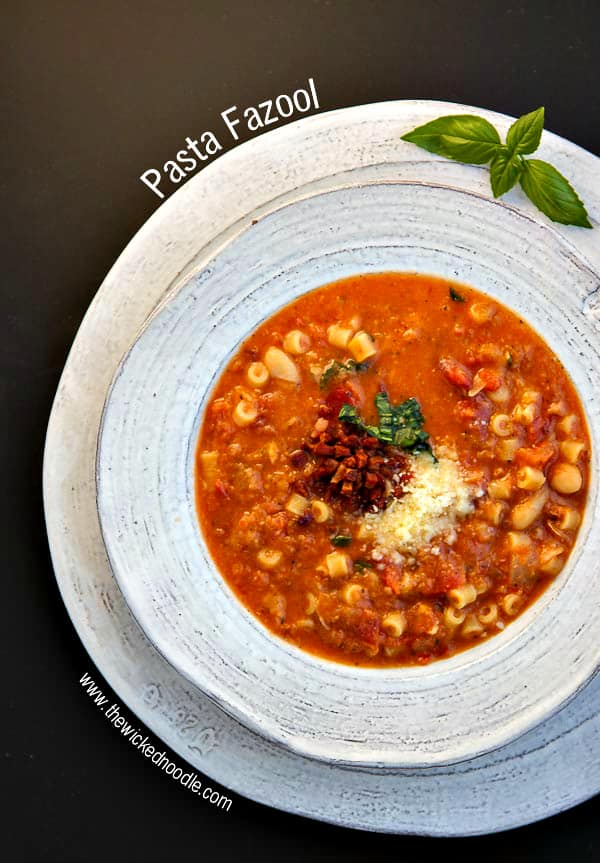 """Pasta Fazool (aka """"Pasta e Fagioli"""") is a simple Italian soup with white beans, tomatoes and ditalini pasta. It's hearty, flavorful and will make everyone happy!"""