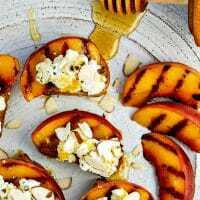 Bruschetta with Peaches, Lemon Ricotta and Honey