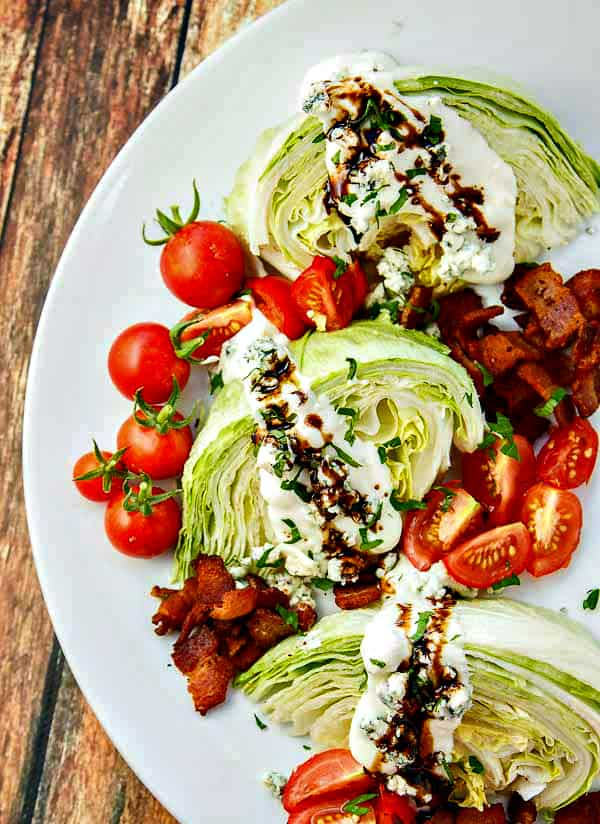 The secret to this simple wedge salad is taking five minutes to reduce your balsamic into a sweet, syrupy treat!