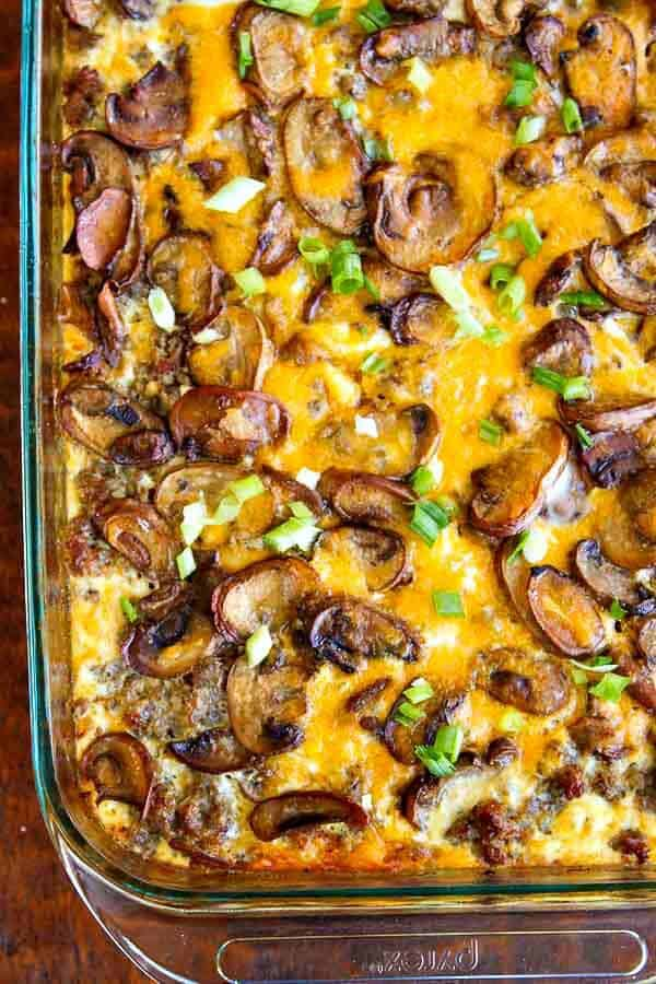 Hash Brown Casserole with Eggs, Sausage and Mushrooms - super easy, delicious and feeds a crowd!
