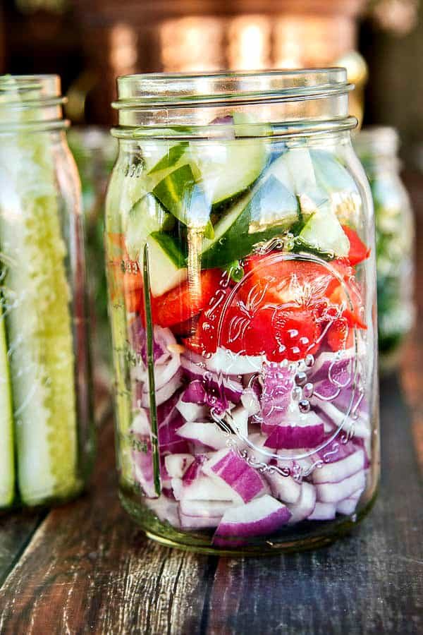 Refrigerator pickles are incredibly simple - no sterilizing jars required! Try green beans, cauliflower, bell peppers, jalapenos or onions, too! Fantastic gifts and they're all great in Bloody Mary's!