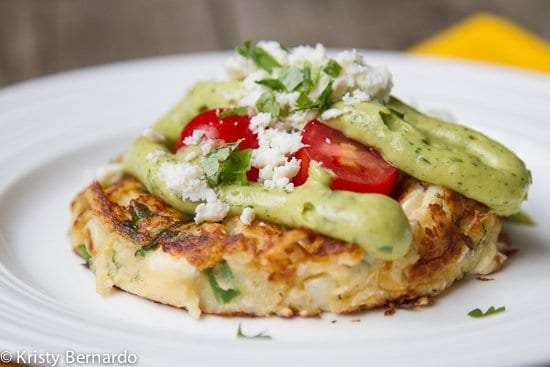 Mexican Mashed Potato Cakes with Smoky Avocado Sauce & Cotija Cheese PLUS 18 more creative Thanksgiving leftover recipes!
