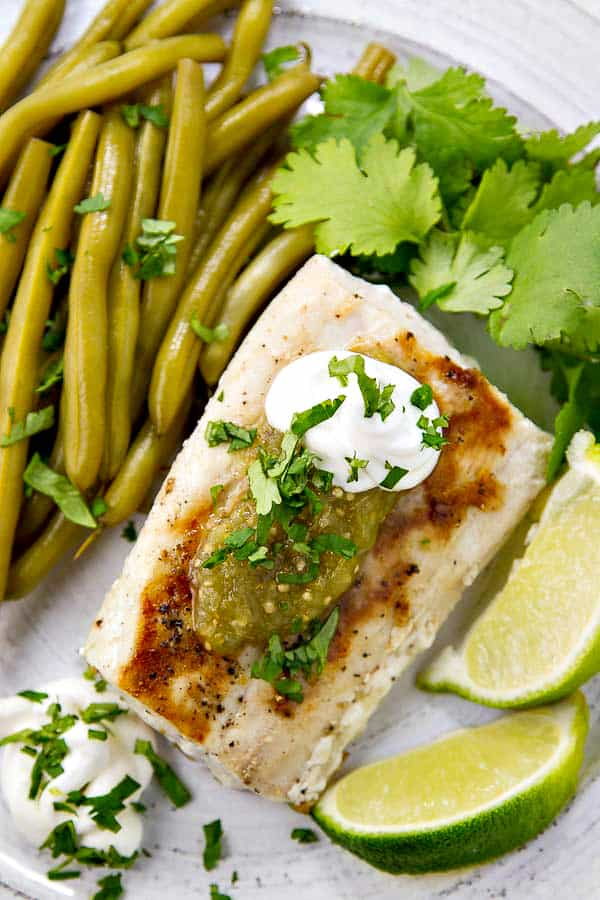 Grilled Mahi Mahi with Salsa Verde has just FIVE ingredients - all which you can keep on hand for a healthy and super tasty meal anytime!