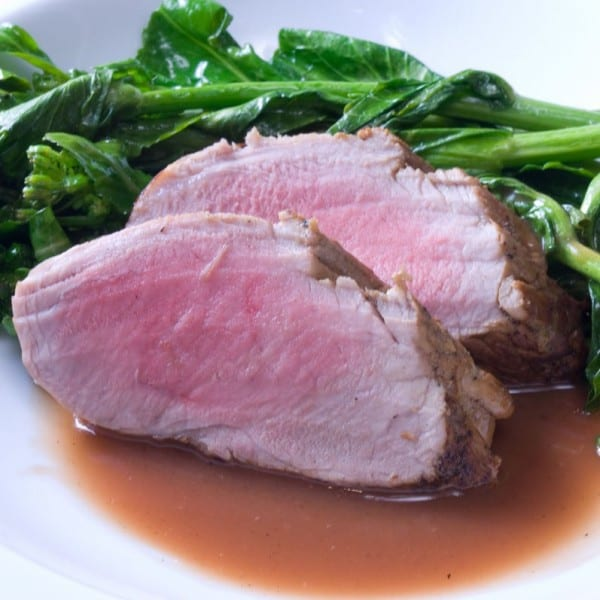 Apple Cider Brined Tenderloin of Pork with Rhubarb Deglazing Sauce - plus more delicious pork loin recipes!