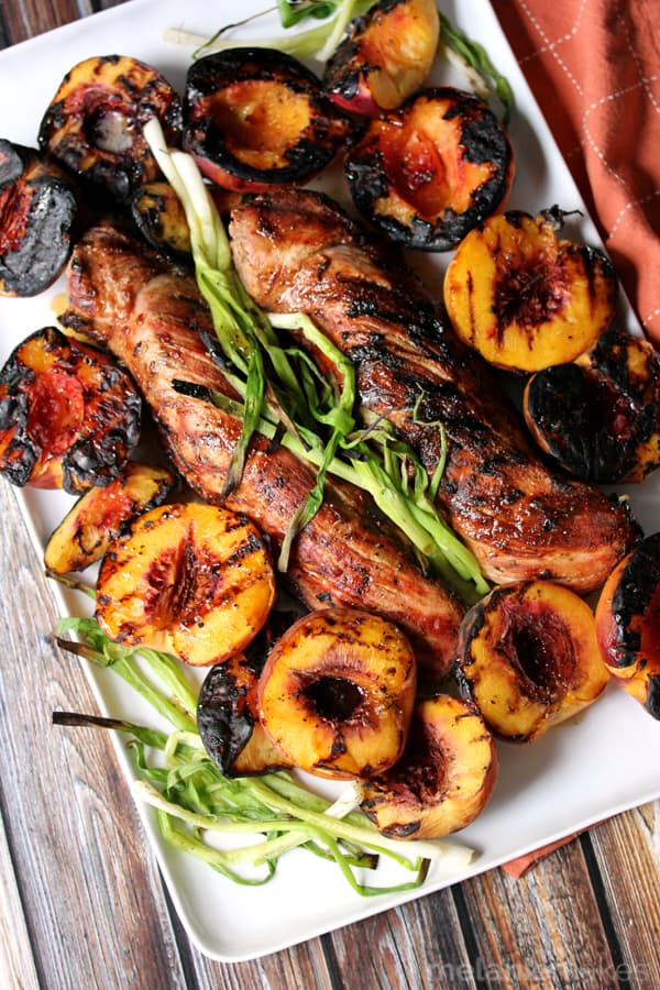 Honey Ginger Glazed Grilled Pork Tenderloin and Peaches plus more delicious pork loin recipes!