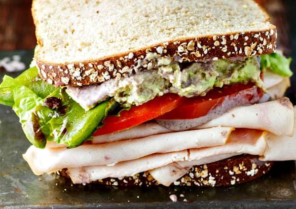 Healthy turkey sandwich recipe with black bean spread for Thanksgiving turkey sandwich recipe