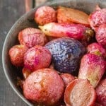 Roasted Radishes are sweeter without the bite of raw radish. Add a little balsamic & honey and they make a fantastic side dish or snack!