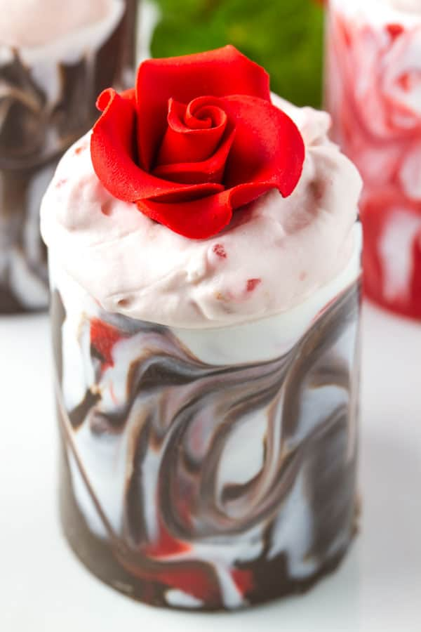 Chocolate Cups with your choice of strawberry mousse, cherry mousse or raspberry mousse! Or add m&m's for a fun Valentine's Day surprise! They are SO EASY and will really impress!