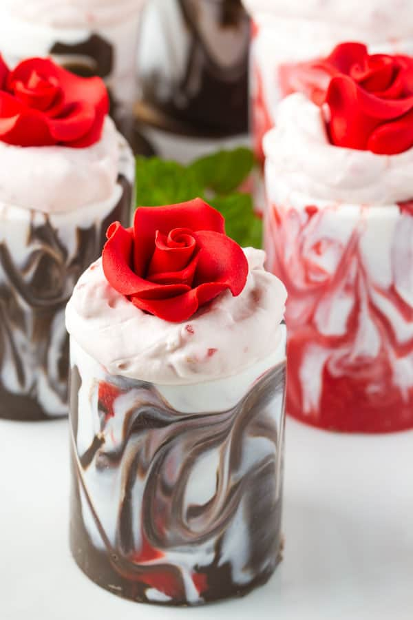 Chocolate Cups with Strawberry Mousse • The Wicked Noodle