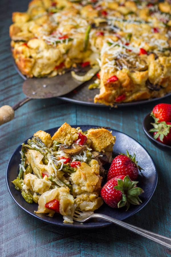 """I call this """"Breakfast Bread Pudding"""" but it could easily be a delicious side or main dinner dish! It's chock full of veggies but you could add cooked bacon or sausage for a traditional breakfast. It's easy and delicious!"""