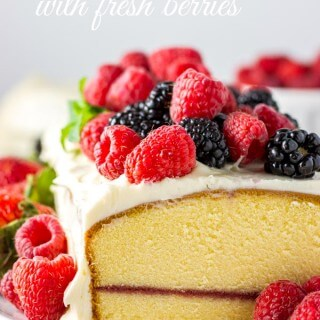 Lemon Cream Cheese Pound Cake with Fresh Berries