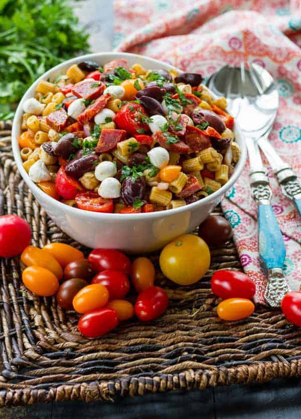 A classic Pasta Salad with Italian Dressing...but with balsamic instead of white vinegar and soppressata to make it something special!