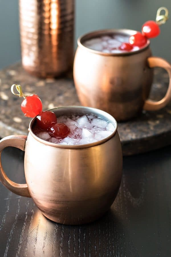 A refreshing twist on a classic drink! Very Cherry Moscow Mule PLUS 12 more creative Moscow Mule variations!
