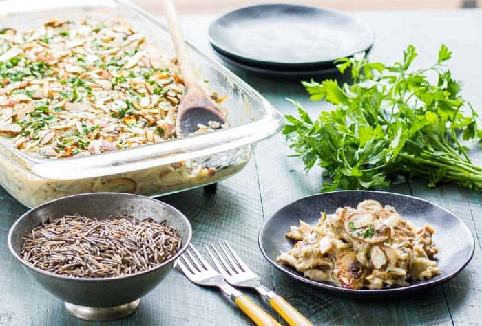 Wild Rice Hotdish without a can in sight! Fresh mushrooms and the easiest