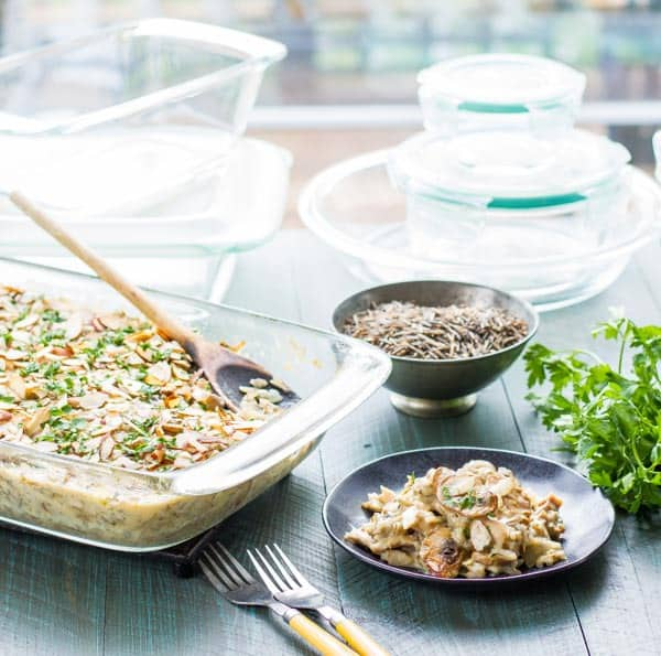 "Wild Rice Hotdish without a can in sight! Fresh mushrooms and the easiest ""sauce"" ever makes this the best you'll ever enjoy!"
