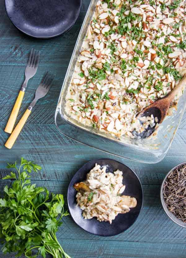 """Wild Rice Hotdish without a can in sight! Fresh mushrooms and the easiest """"sauce"""" ever makes this the best you'll ever enjoy!"""