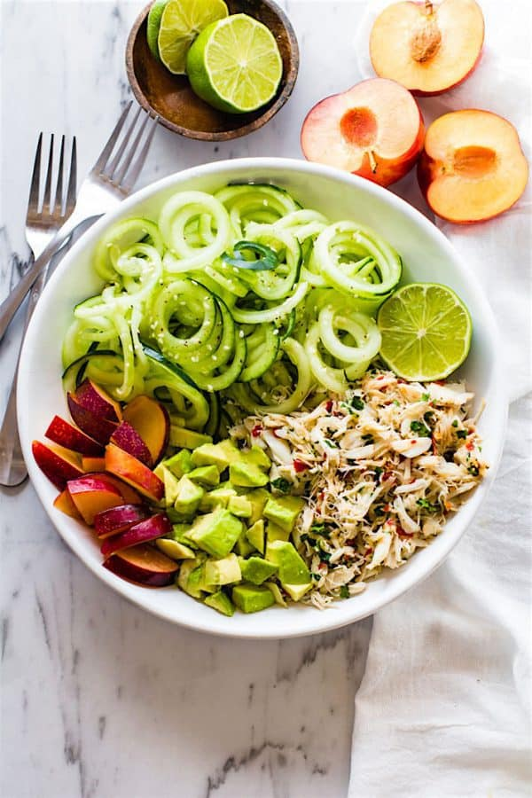 "Asian Crab and Avocado Sprialized Cucumber Salad - We've answered the question ""What to do with cucumbers?"" The ULTIMATE list including appetizers, soups, salads, sides and more!"