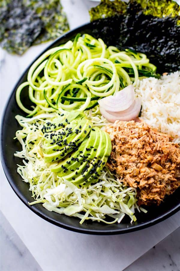 "Avocado Tuna Salad Sushi Bowls - We've answered the question ""What to do with cucumbers?"" The ULTIMATE list including appetizers, soups, salads, sides and more!"