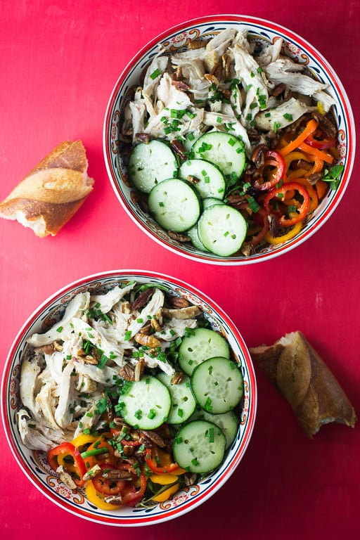 """Chicken, Cucumbers and Sweet Peppers Salad - We've answered the question """"What to do with cucumbers?"""" The ULTIMATE list including appetizers, soups, salads, sides and more!"""
