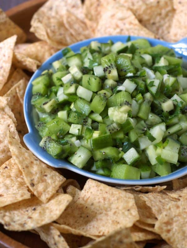 """Cucumber Kiwi Salsa - We've answered the question """"What to do with cucumbers?"""" The ULTIMATE list including appetizers, soups, salads, sides and more!"""