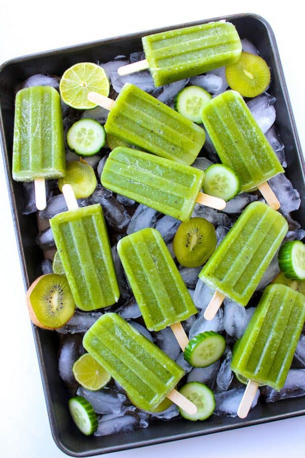 """Cucumber Lime Mint Paletas (Popsicles) - We've answered the question """"What to do with cucumbers?"""" The ULTIMATE list including appetizers, soups, salads, sides and more!"""