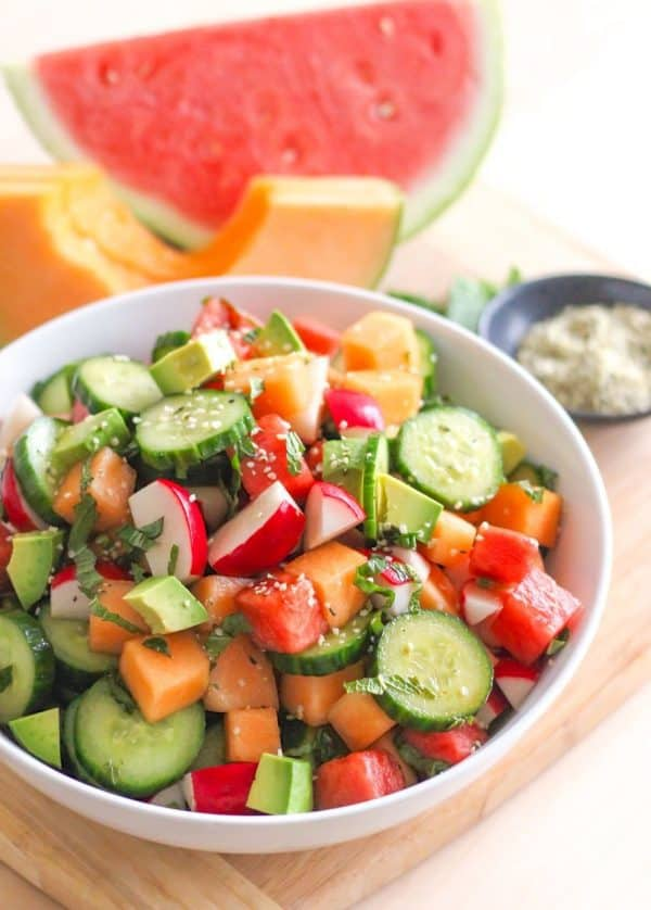 "Cucumber, Melon and Avocado Salad - We've answered the question ""What to do with cucumbers?"" The ULTIMATE list including appetizers, soups, salads, sides and more!"