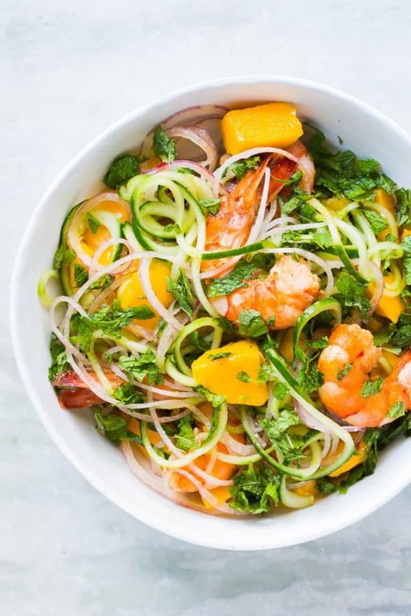 "Cucumber Noodle Prawn and Mango Salad - We've answered the question ""What to do with cucumbers?"" The ULTIMATE list including appetizers, soups, salads, sides and more!"