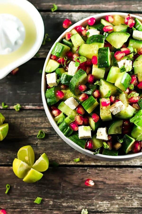 """Cucumber Pomegranate Salad - We've answered the question """"What to do with cucumbers?"""" The ULTIMATE list including appetizers, soups, salads, sides and more!"""