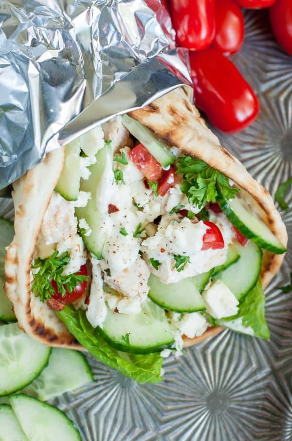 "Easy Chicken Gyros with Greek Feta Sauce - We've answered the question ""What to do with cucumbers?"" The ULTIMATE list including appetizers, soups, salads, sides and more!"