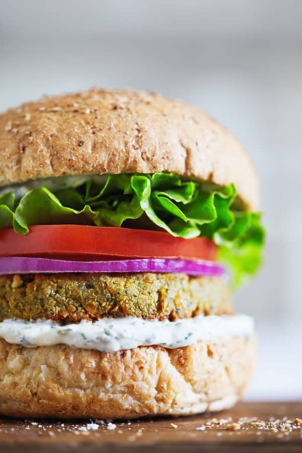 "Falafel Tahini Burgers with Tzatziki Sauce - We've answered the question ""What to do with cucumbers?"" The ULTIMATE list including appetizers, soups, salads, sides and more!"
