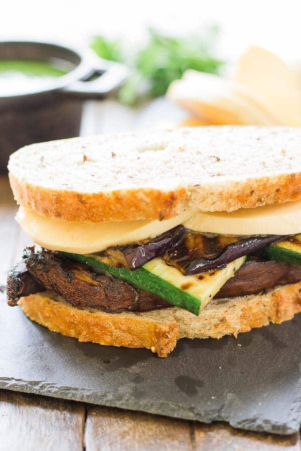 Grilled Vegetable Sandwich with Chimichurri & Smoked Mozzarella