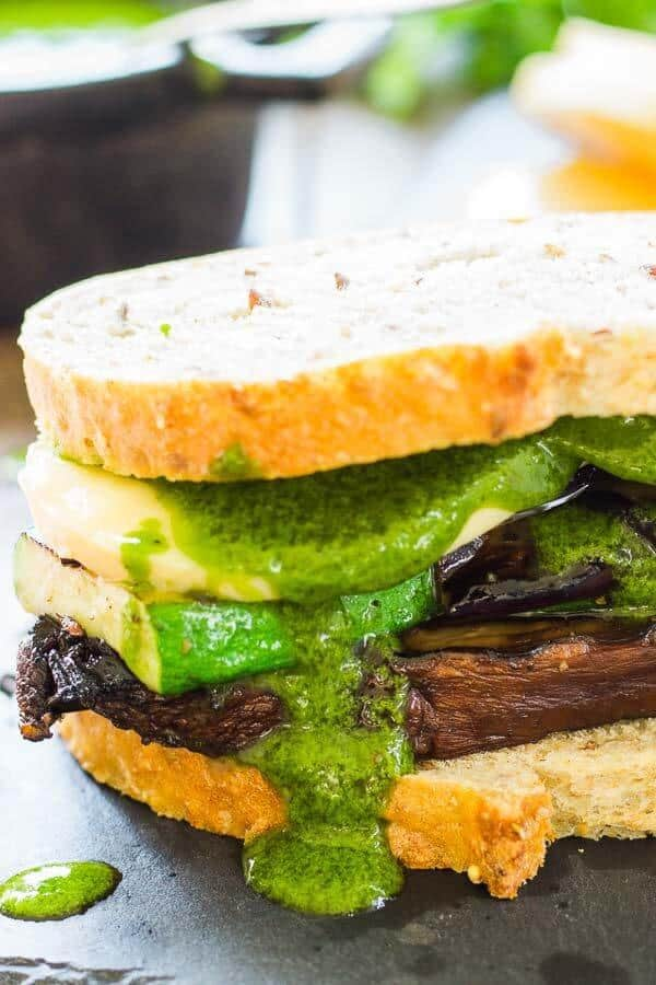 Grilled Vegetable Sandwich with Chimichurri and Smoked Mozzarella