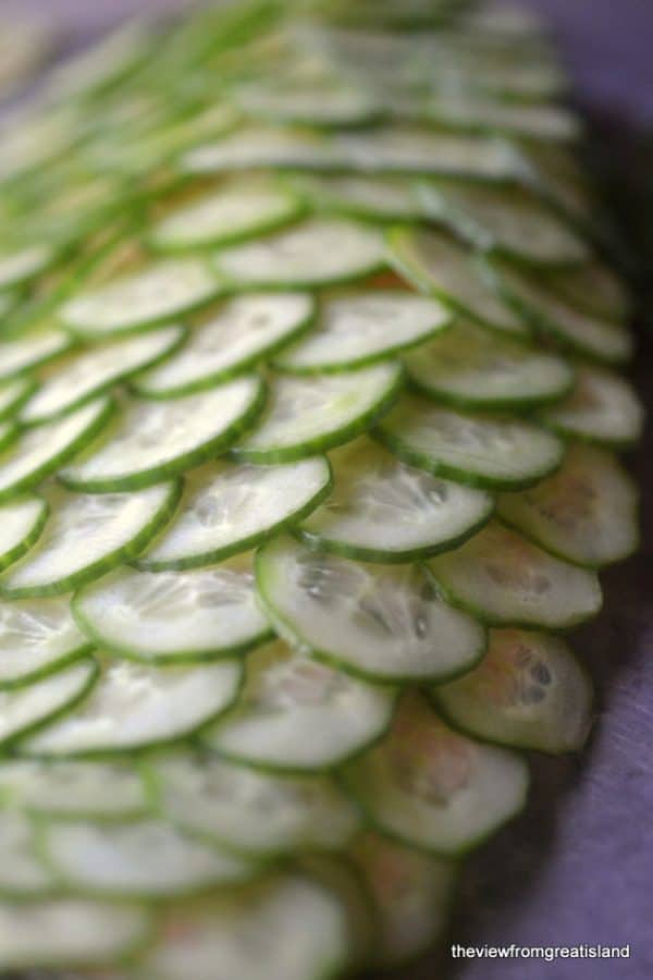 """Poached Salmon with Cucumber """"Scales"""" - We've answered the question """"What to do with cucumbers?"""" The ULTIMATE list including appetizers, soups, salads, sides and more!"""