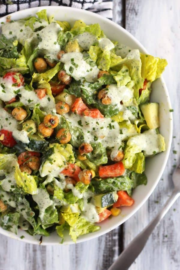 "Roasted Chickpea Salad - We've answered the question ""What to do with cucumbers?"" The ULTIMATE list including appetizers, soups, salads, sides and more!"