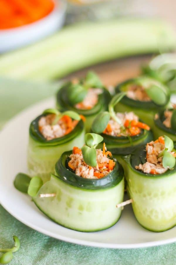"Salmon Cucumber Rolls - We've answered the question "" What to do with cucumbers? "" The ULTIMATE list including appetizers, soups, salads, sides and more!"