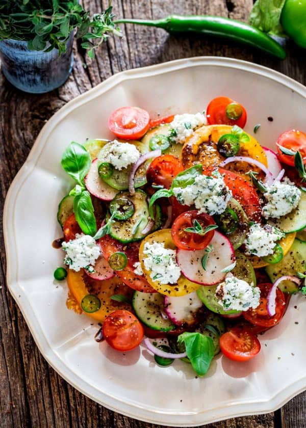 "Summer Salad with Herbed Ricotta and Balsamic Vinaigrette - We've answered the question ""What to do with cucumbers?"" The ULTIMATE list including appetizers, soups, salads, sides and more!"