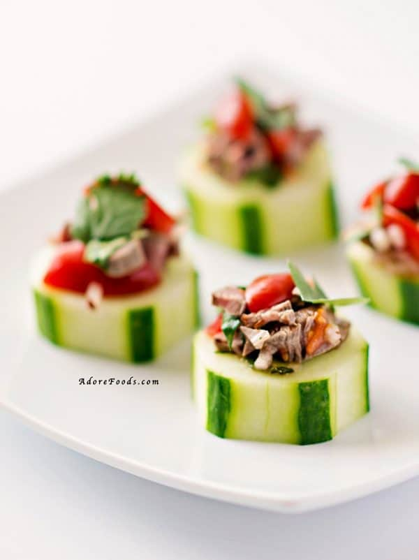 """Thai Beef Salad Cucumber Bites! We've answered the question """" What to do with cucumbers? """" The ULTIMATE list including appetizers, soups, salads, sides and more!"""