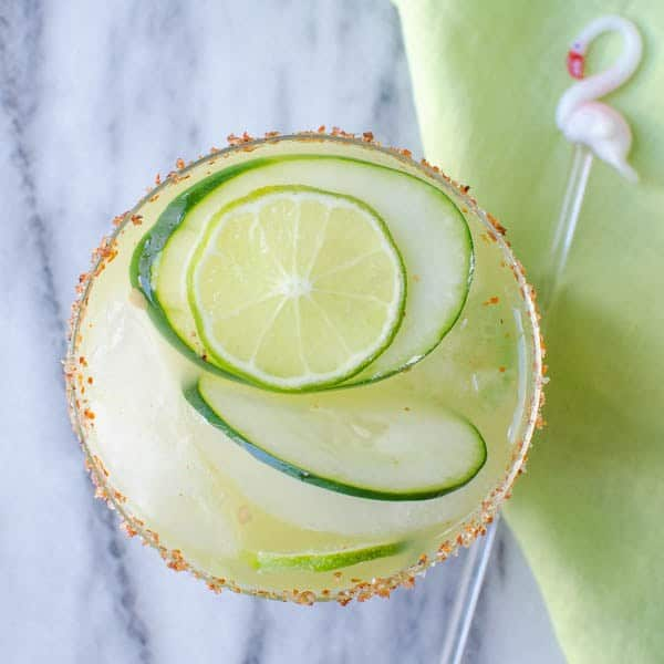 "Spicy Cucumber Kiwi Margarita - We've answered the question ""What to do with cucumbers?"" The ULTIMATE list including appetizers, soups, salads, sides and more!"