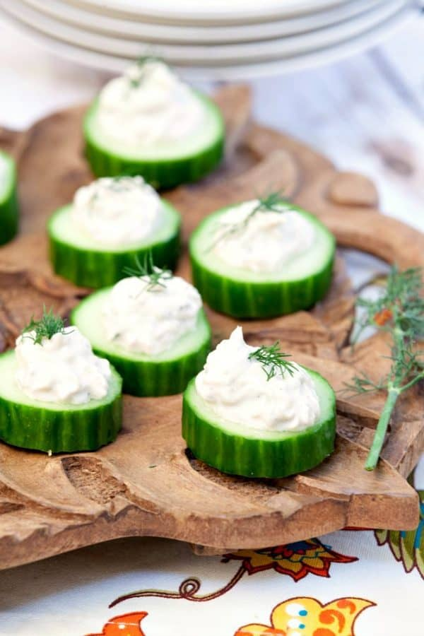 "Cucumber Bites with Salmon Mousse! We've answered the question ""What to do with cucumbers?"" The ULTIMATE list including appetizers, soups, salads, sides and more!"