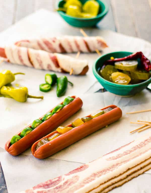 Bacon Wrapped Hot Dogs Stuffed with Peppers & Pickles
