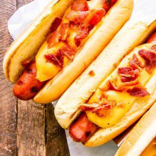 Cheesy Bacon Beef Hot Dogs